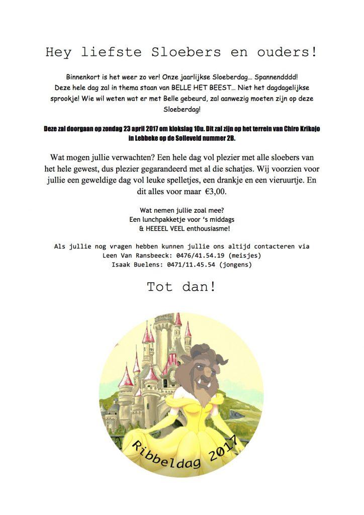 Uitnodiging Ribbeldag 2017